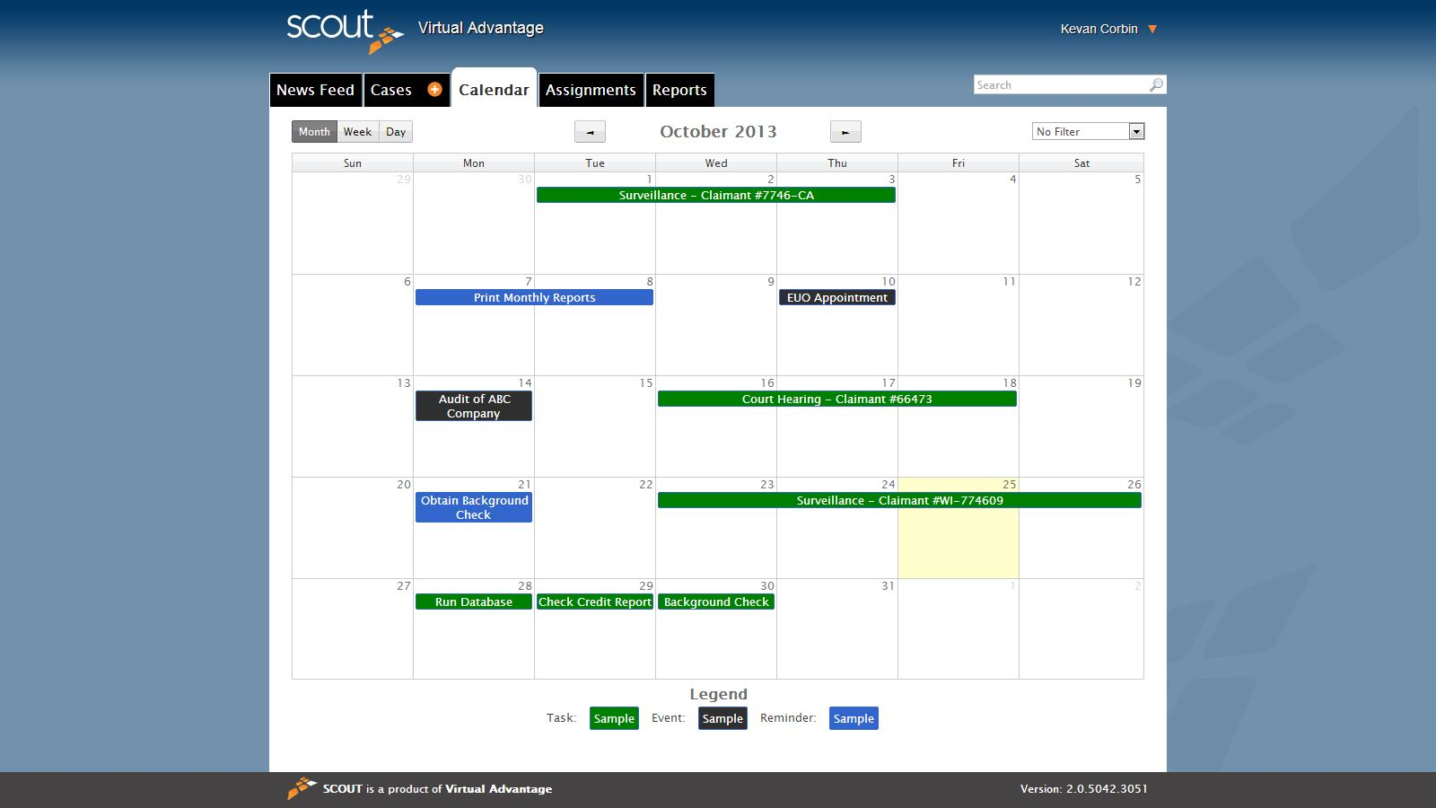 Actions & Calendar Case Management Software