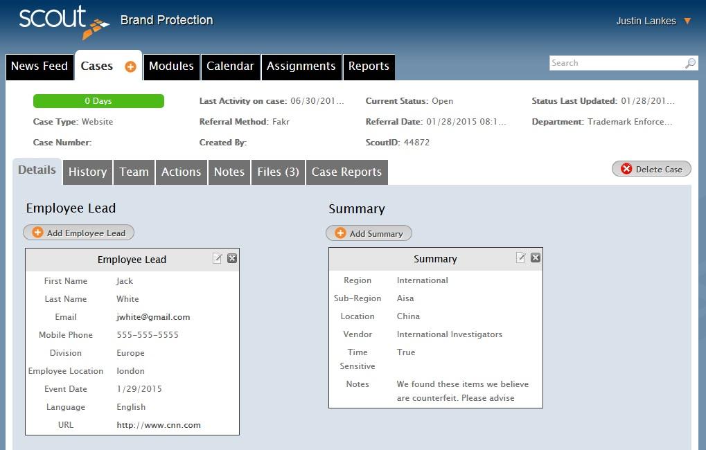 Case Details Software