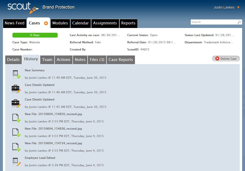 History of Cases Tab Case Management Software