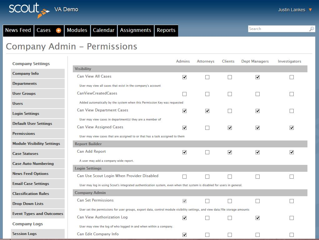 Company Admin Permissions Case Management Software